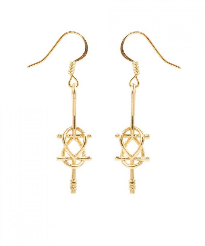 Double Ankh Earring - Brass