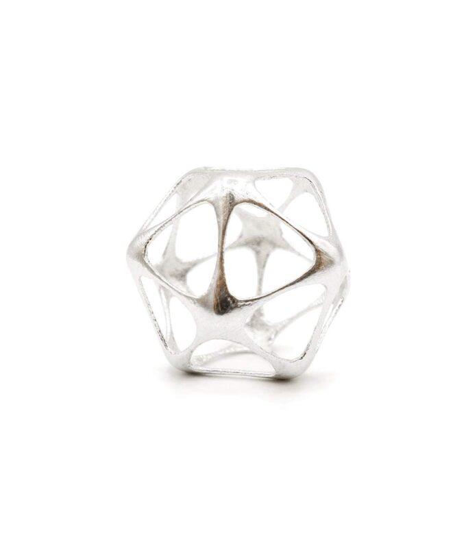 Icosahedron Pendant - Silver