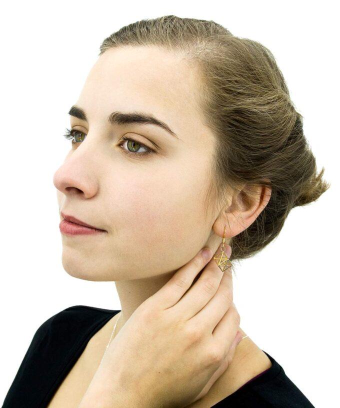 Metatron Cube Earrings - Brass