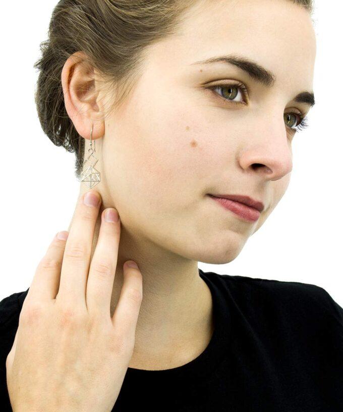 Metatron Cube Earrings - Long - Sterling Silver