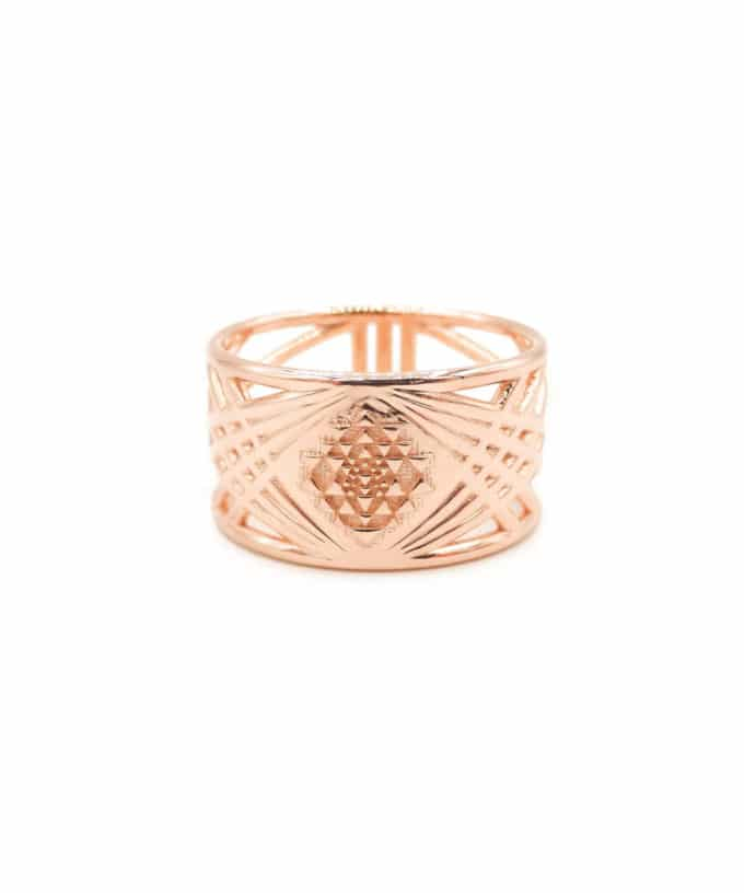 Sri Yantra Ring - Rose Gold Plated Brass