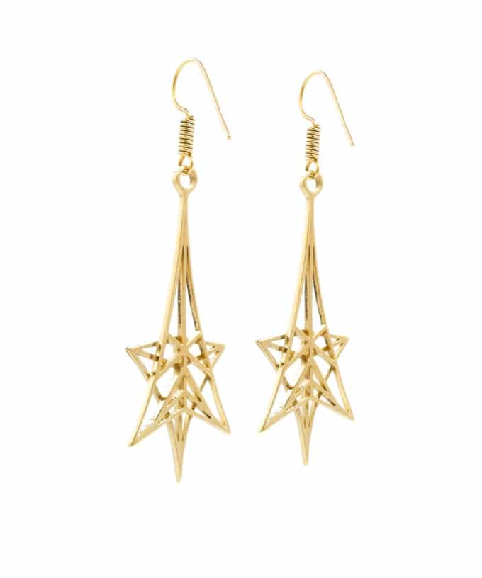 Shooting Star Earrings Brass