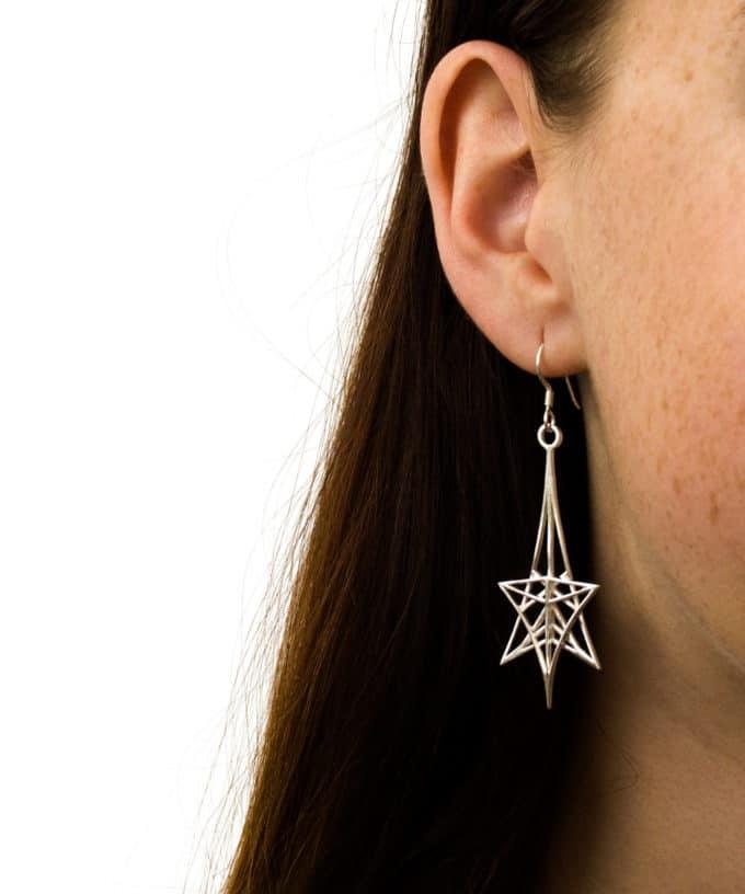 Shooting Star Earrings Sterling Silver