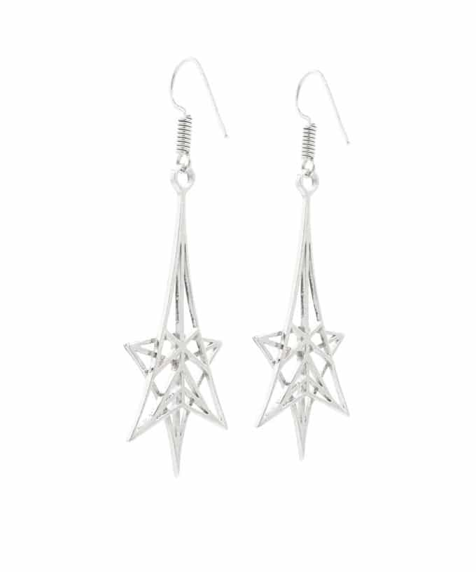 Shooting Star Earrings Sterling Silver