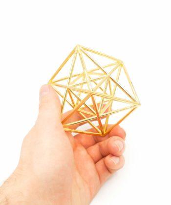 Metatron Cube - Meditation Tool - Gold Plated Brass