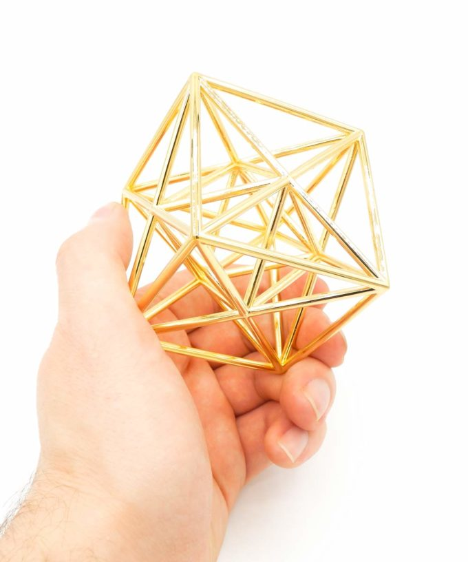 Metatron Cube - Meditation Tool - Gold Plated Brass