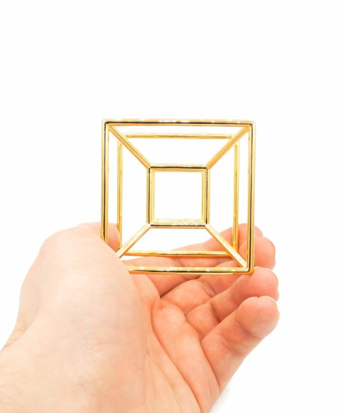 Tesseract - Meditation Tool - Gold Plated Brass