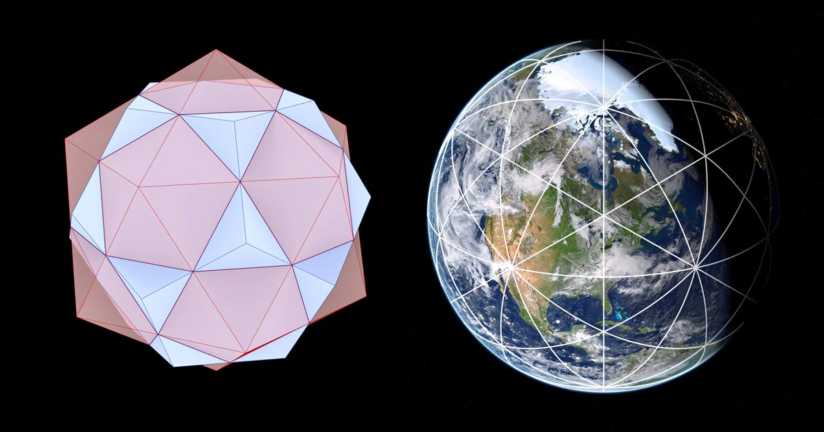 Icosa Dodecahedron Earth Grid