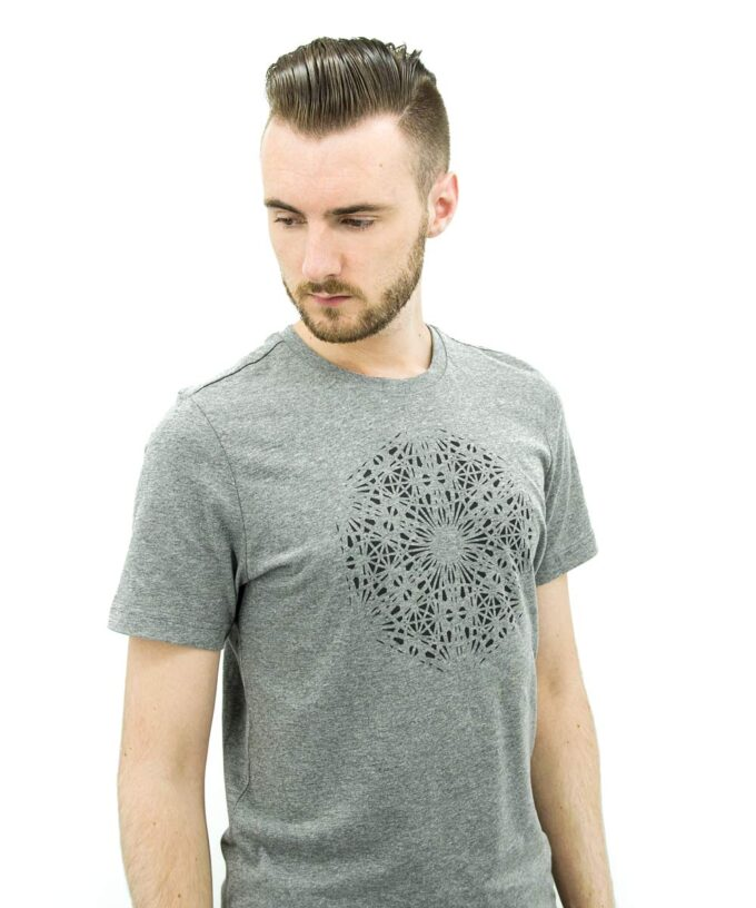Magdalene Grid T-Shirt - Grey Heather - Black-Print