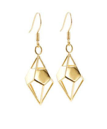 Deltohedron Earrings - Gold Plated