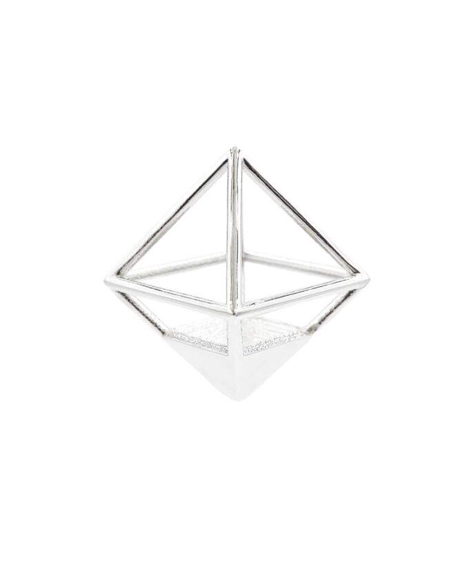 Octahedron Pendant - Sterling Silver