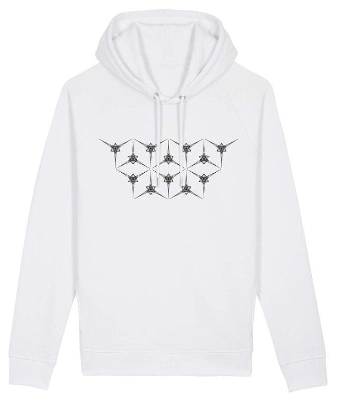 Angelic Star Grid Hoodie White