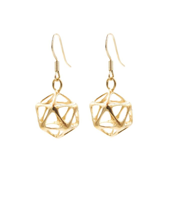 Icosahedron Earrings - Yin - Brass