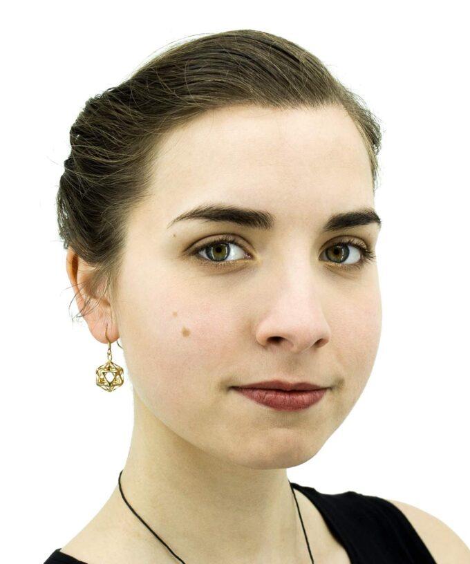Icosahedron-Earrings-Yin-Brass
